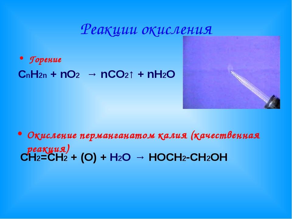 Реакции окисления Горение СnН2n + nО2 → nCO2↑ + nH2O Окисление перманганатом...