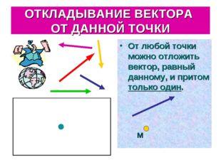 ОТКЛАДЫВАНИЕ ВЕКТОРА ОТ ДАННОЙ ТОЧКИ От любой точки можно отложить вектор, ра