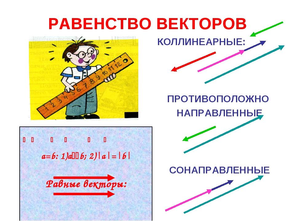 РАВЕНСТВО ВЕКТОРОВ КОЛЛИНЕАРНЫЕ: ПРОТИВОПОЛОЖНО НАПРАВЛЕННЫЕ СОНАПРАВЛЕННЫЕ