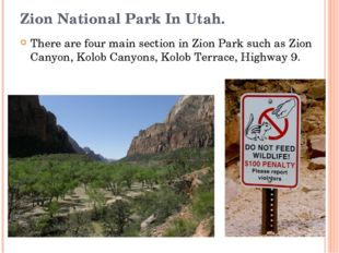 Zion National Park In Utah. There are four main section in Zion Park such as