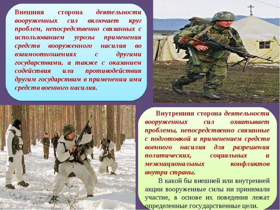 Внешняя сторона деятельности вооруженных сил включает круг проблем, непосредс...