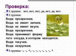 Проверка: 1 группа: нет, нет, нет, да, нет, да, нет. 2 группа: Вода прозрачна