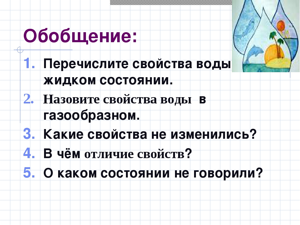 Обобщение: Перечислите свойства воды в жидком состоянии. Назовите свойства во...