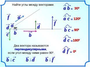 Найти углы между векторами. 300 300 1200 900 1800 00 Два вектора называются п