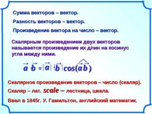 Сумма векторов – вектор. Разность векторов – вектор. Произведение вектора на