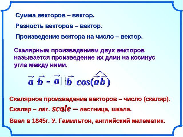 Сумма векторов – вектор. Разность векторов – вектор. Произведение вектора на...