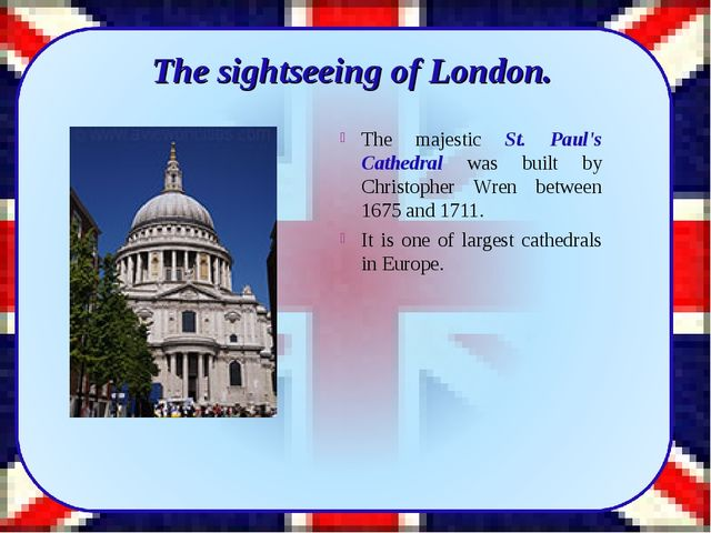 The sightseeing of London. The majestic St. Paul's Cathedral was built by Ch...