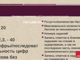 Основные изменения в ЕГЭ по иностранным языкам ПИСЬМЕННАЯ ЧАСТЬ 4 / 20 80 1,