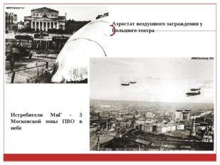 Аэростат воздушного заграждения у Большого театра Истребители МиГ - 3 Московс