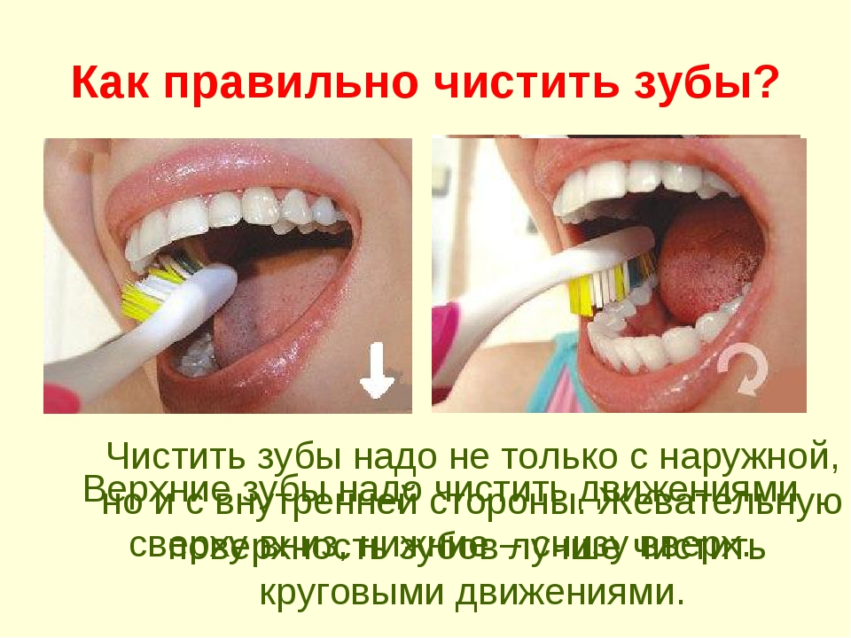 Как правильно чистить зубы? Верхние зубы надо чистить движениями сверху вниз,...
