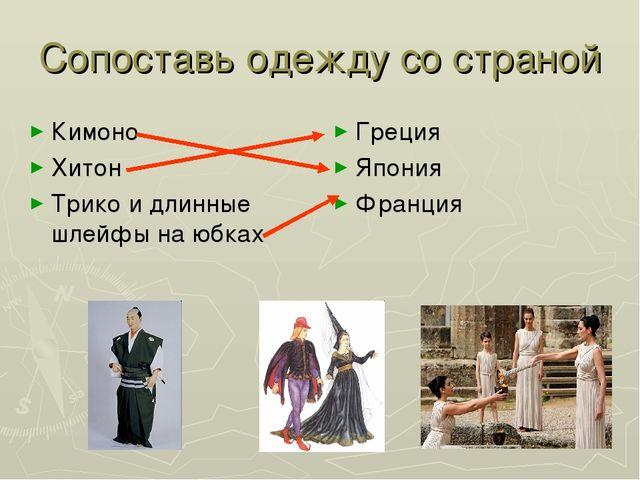 Сопоставь одежду со страной Кимоно Хитон Трико и длинные шлейфы на юбках Грец...
