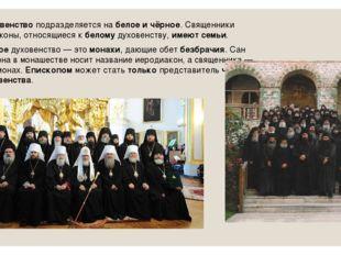 Духовенствоподразделяется набелое ичёрное. Священники идьяконы, относящие