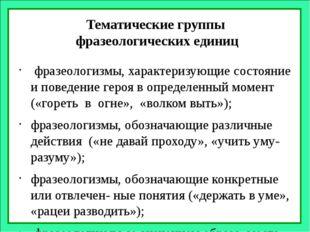 Тематические группы фразеологических единиц фразеологизмы, характеризующие со