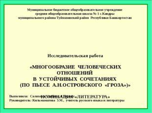 Исследовательская работа  «МНОГООБРАЗИЕ ЧЕЛОВЕЧЕСКИХ ОТНОШЕНИЙ В УСТОЙЧИВЫХ