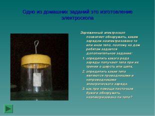 Одно из домашних заданий это изготовление электроскопа Заряженный электроскоп