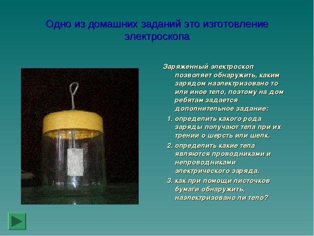 Одно из домашних заданий это изготовление электроскопа Заряженный электроскоп...