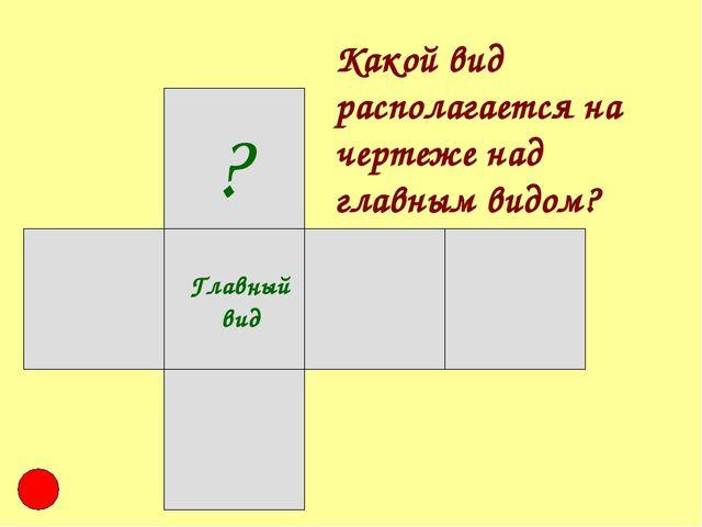 Главный вид ? Какой вид располагается на чертеже над главным видом?