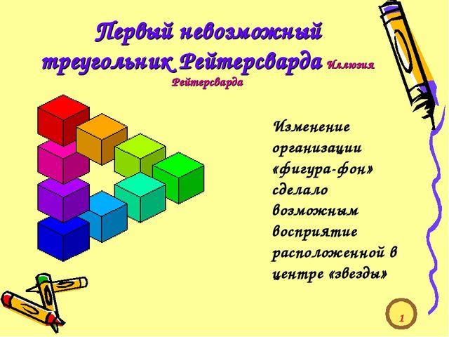 Первый невозможный треугольник Рейтерсварда Иллюзия Рейтерсварда Изменение ор...