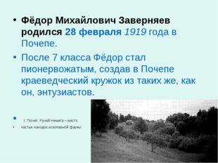 Фёдор Михайлович Заверняев родился 28 февраля 1919 года в Почепе. После 7 кла