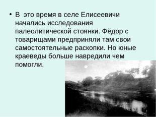 В это время в селе Елисеевичи начались исследования палеолитической стоянки.
