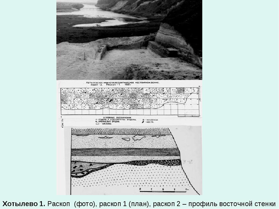 Хотылево 1. Раскоп (фото), раскоп 1 (план), раскоп 2 – профиль восточной сте...