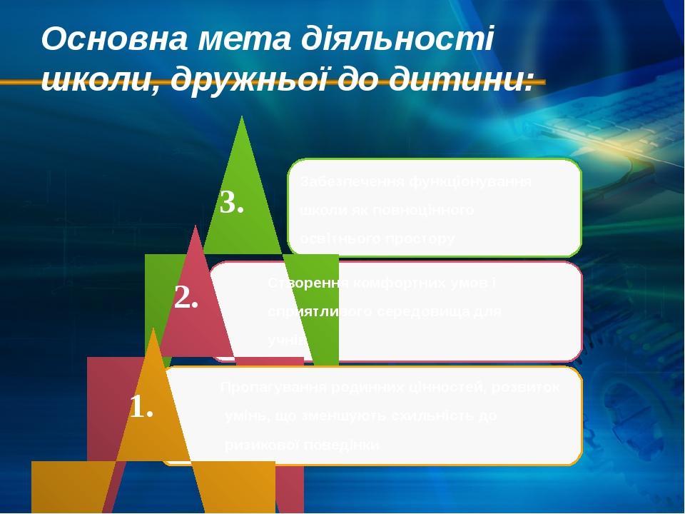 Основна мета діяльності школи, дружньої до дитини: Забезпечення функціонуванн...