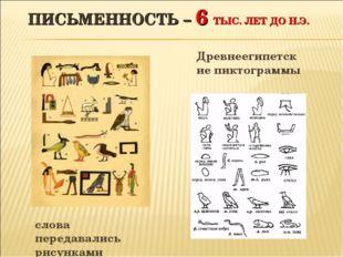 ПИСЬМЕННОСТЬ – 6 ТЫС. ЛЕТ ДО Н.Э. Древнеегипетские пиктограммы слова передава