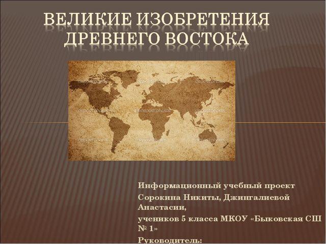 Информационный учебный проект Сорокина Никиты, Джингалиевой Анастасии, ученик...