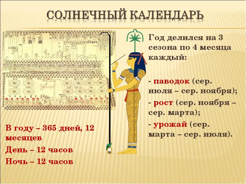 В году – 365 дней, 12 месяцев День – 12 часов Ночь – 12 часов Год делился на...