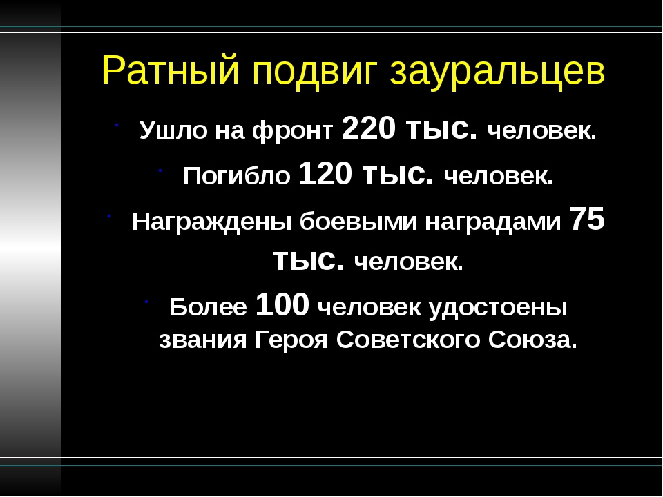 Ратный подвиг зауральцев Ушло на фронт 220 тыс. человек. Погибло 120 тыс. чел...