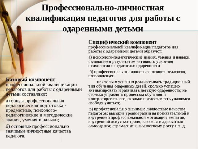 Базовый компонент профессиональной квалификации педагогов для работы с одаре...