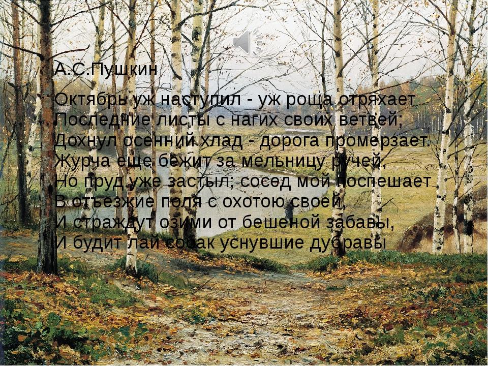 А.С.Пушкин Октябрь уж наступил - уж роща отряхает Последние листы с нагих сво...