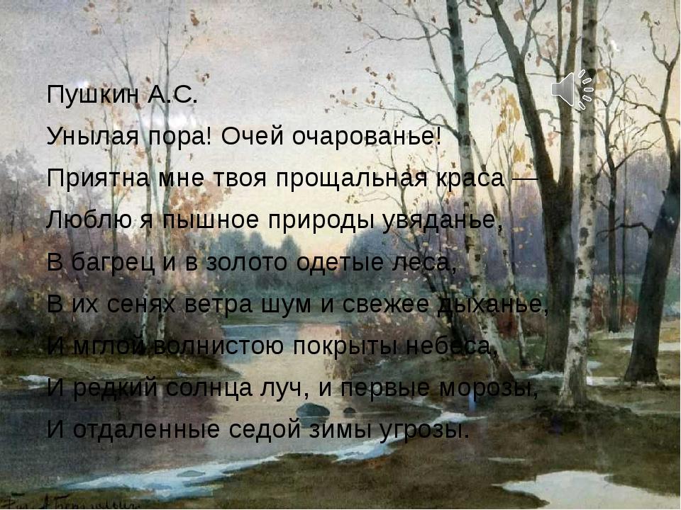 Пушкин А.С. Унылая пора! Очей очарованье! Приятна мне твоя прощальная краса —...