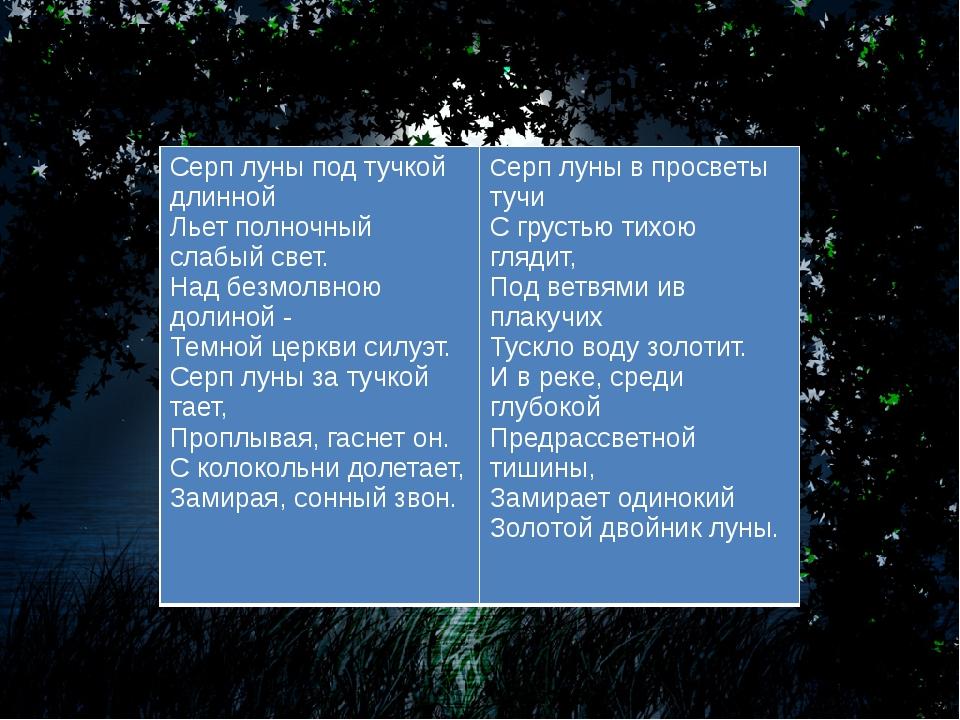 Найдите все изобразительно-выразительные средства языка Серп луны под ту...