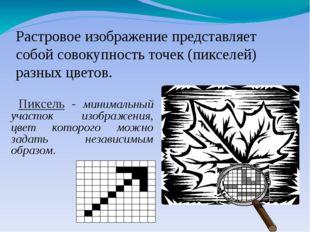 Пиксель - минимальный участок изображения, цвет которого можно задать незави