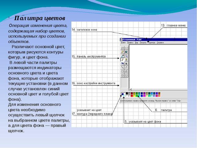 – Палитра цветов операция изменения цвета, содержащая набор цветов, используе...