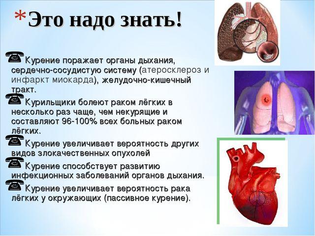 Это надо знать! Курение поражает органы дыхания, сердечно-сосудистую систему...