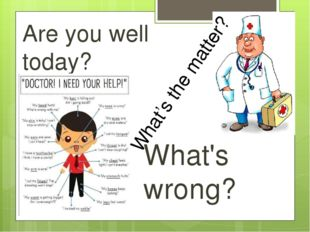 Are you well today? What's wrong? What's the matter?