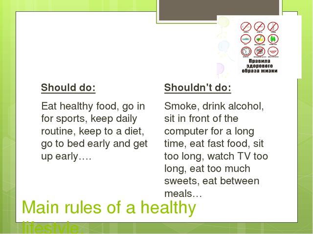 Main rules of a healthy lifestyle. Should do: Eat healthy food, go in for sp...