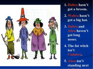 1. Dabra hasn't got a broom. 2. Wabra hasn't got a big hat. 3. Dabra and Abra