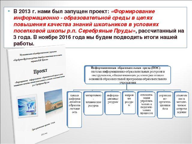 В 2013 г. нами был запущен проект: «Формирование информационно - образователь...