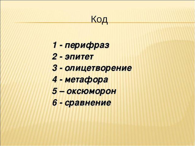 Код 1 - перифраз 2 - эпитет 3 - олицетворение 4 - метафора 5 – оксюморон 6 -...
