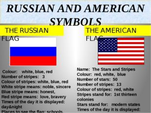 RUSSIAN AND AMERICAN SYMBOLS THE RUSSIAN FLAG THE AMERICAN FLAG Colour: white