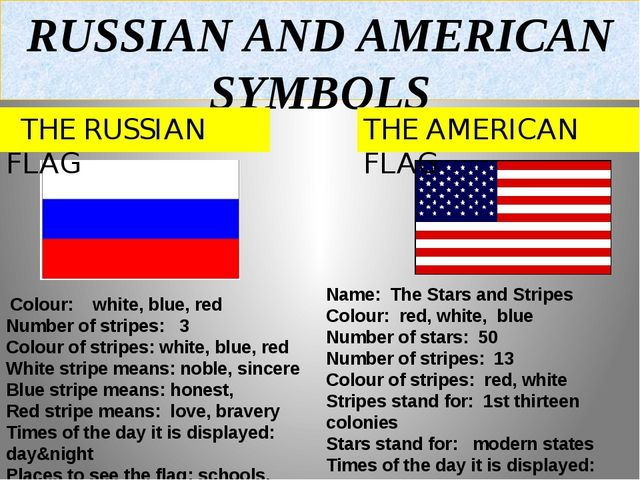 RUSSIAN AND AMERICAN SYMBOLS THE RUSSIAN FLAG THE AMERICAN FLAG Colour: white...