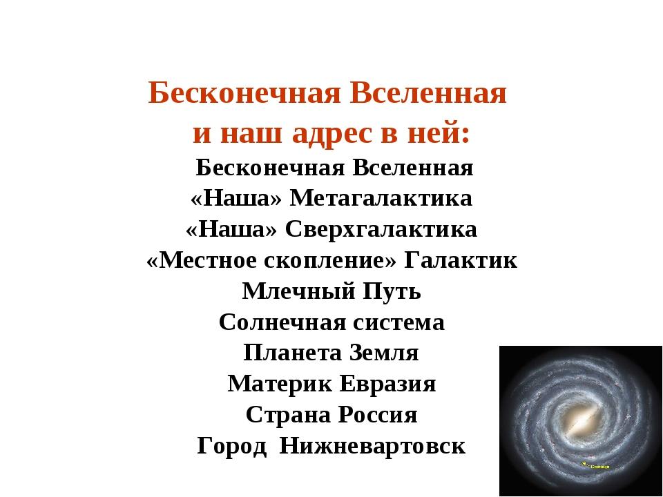 Бесконечная Вселенная и наш адрес в ней: Бесконечная Вселенная «Наша» Метагал...