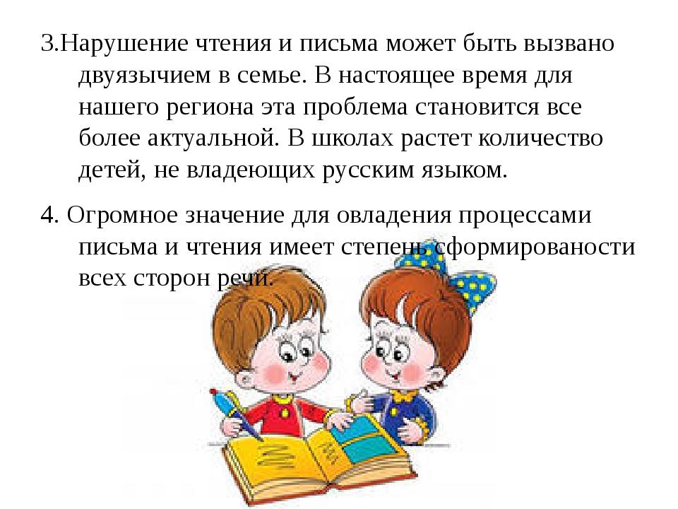 3.Нарушение чтения и письма может быть вызвано двуязычием в семье. В настоящ...