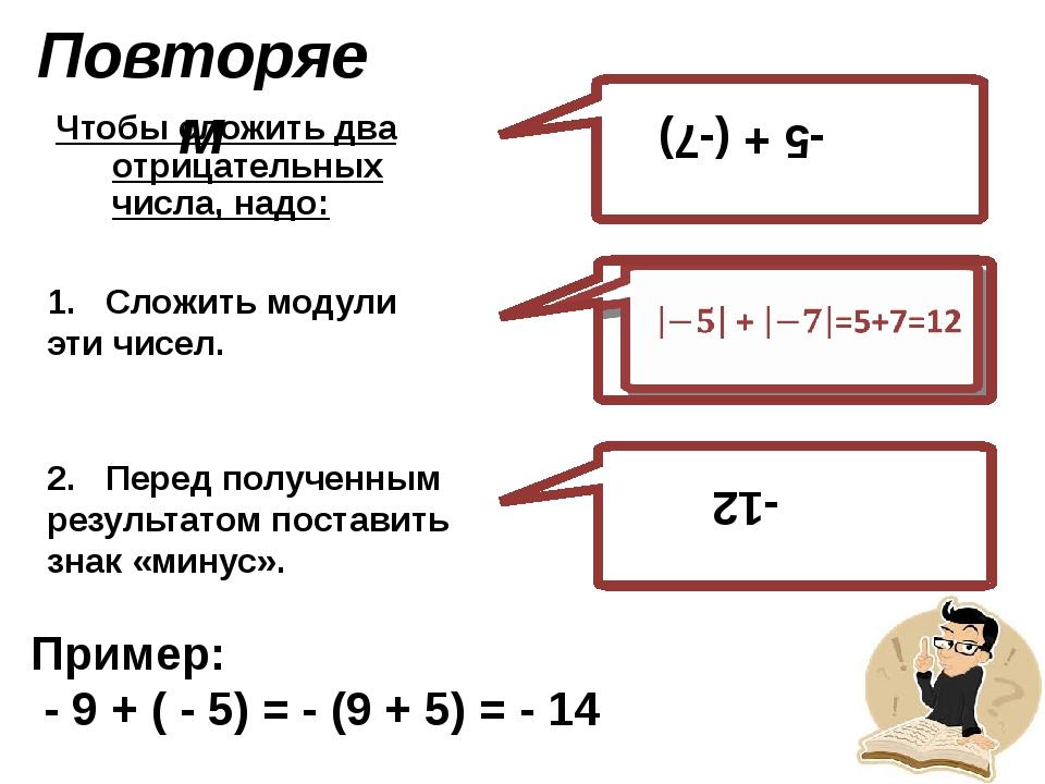 Повторяем Чтобы сложить два отрицательных числа, надо: -5 + (-7) -12 1. Сложи...
