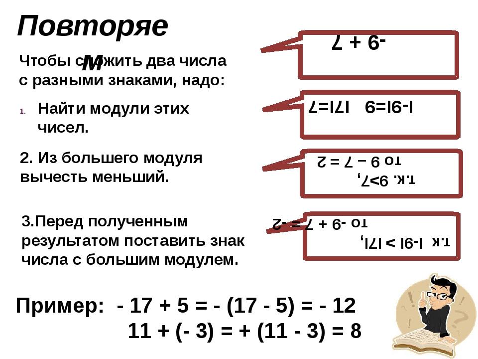 Повторяем Чтобы сложить два числа с разными знаками, надо: I-9I=9 I7I=7 т.к....