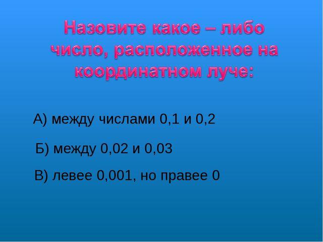 А) между числами 0,1 и 0,2 Б) между 0,02 и 0,03 В) левее 0,001, но правее 0
