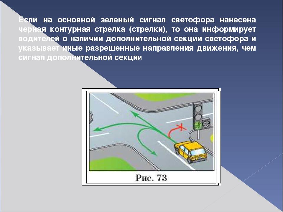 Если на основной зеленый сигнал светофора нанесена черная контурная стрелка (...